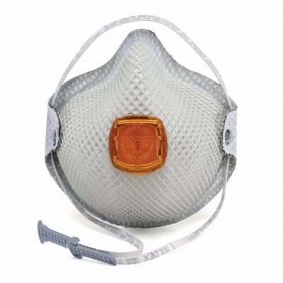 disposable white respirator face mask with orange vent and including adjustable strap