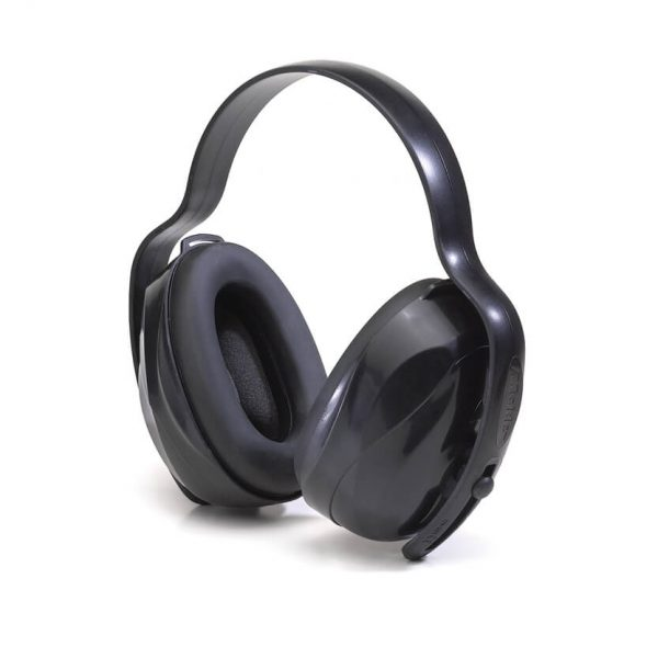 multi-position reusable hearing-protection earmuffs in black