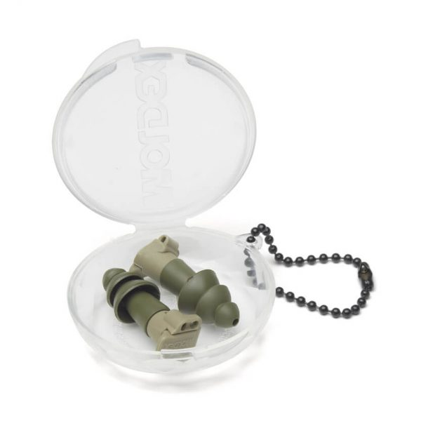 military-green hearing-protection earplugs and carrying case
