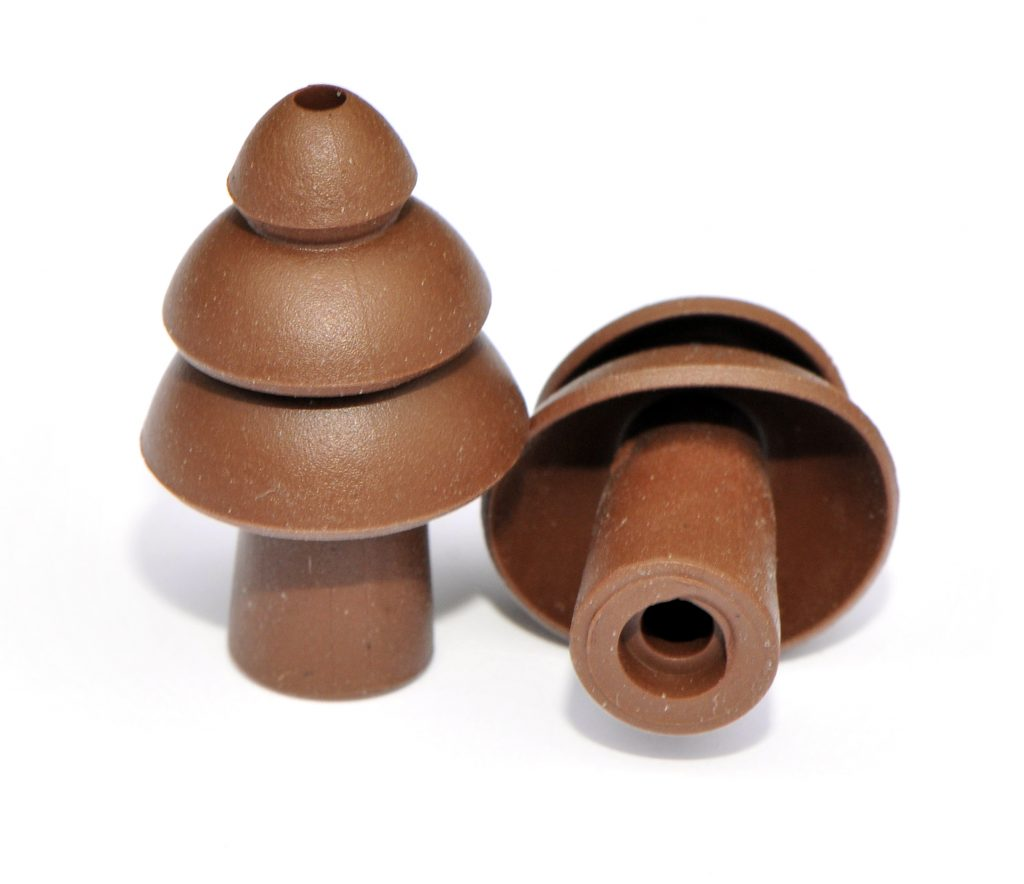 pair of reusable brown military impulse hearing protection earplugs