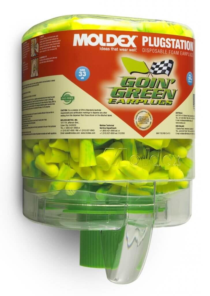 dispenser of disposable bright-green foam earplugs