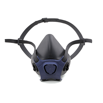 reusable black half-face respirator that has a blue vent