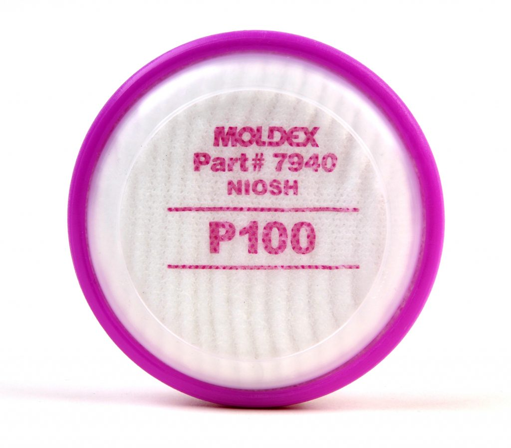 pink and white filter engineered for reusable respirator face masks