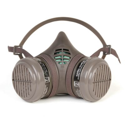 reusable half-face respirator mask designed for paint or pesticide spraying