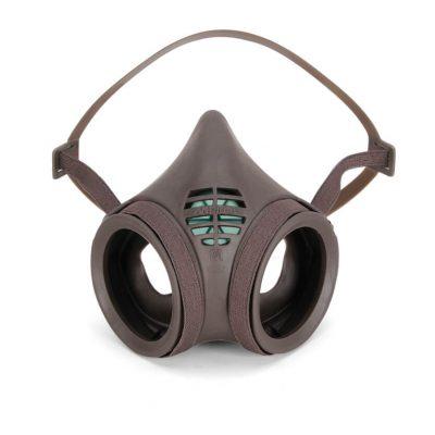 gray-colored half-mask reusable respirator face mask