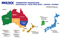 map of Moldex territory managers in the United States of America