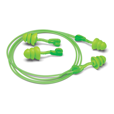 no-twist bright-green earplugs and removable cord