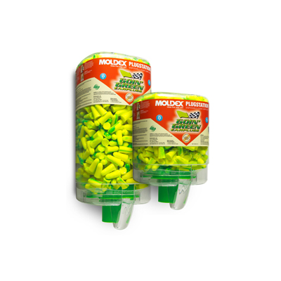 two dispensers of PVC-free disposable green foam earplugs