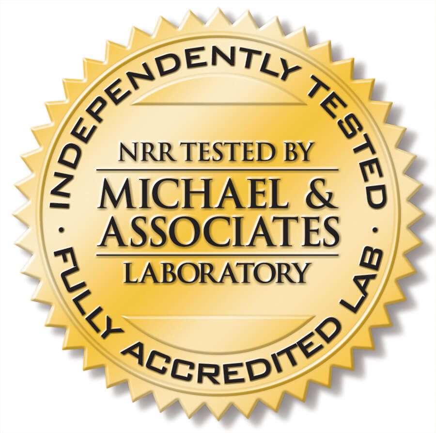 laboratory seal showing independently tested NRR accreditation