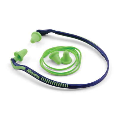 jazzy style blue and green hearing-protection earplugs and band