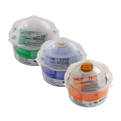 three dispensers holding a variety of kinds of disposable face masks