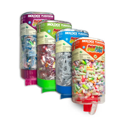four dispensers containing a variety of disposable earplugs