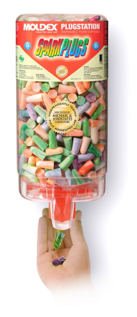 close-up view of a dispenser full of colorful disposable foam earplugs