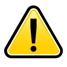 bright-yellow warning triangle with exclamation point inside
